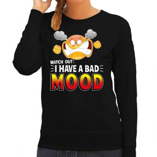 Funny emoticon sweater Watch out I have a bad mood zwart dames