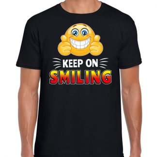 Funny emoticon t-shirt keep on smiling zwart voor heren