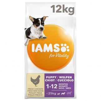 IAMS for Vitality Dog Puppy & Junior Small / Medium Kip Hondenvoer - Dubbelpak: 2 x 12 kg